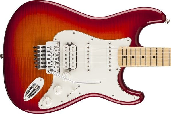 Fender Standard Stratocaster HSS PlusTop with Locking Tremolo, Maple F-board, Aged Cherry Burst