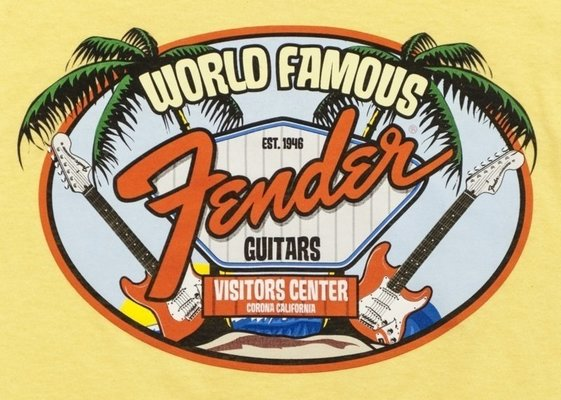 Fender World Famous Visitor's Centre Youth T-shirt, Yellow
