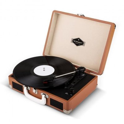 Auna Peggy Sue Retro Suitcase Turntable LP USB Brown