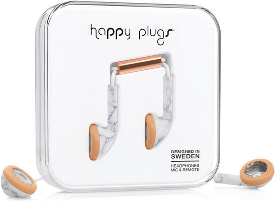 Happy Plugs Earbud White Marble Rose Gold
