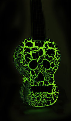 Mahalo Soprano Ukulele Skull Glow Green