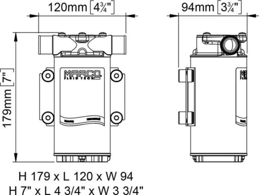 Marco UP1 Pump rubber impeller 35 l/min - 12V