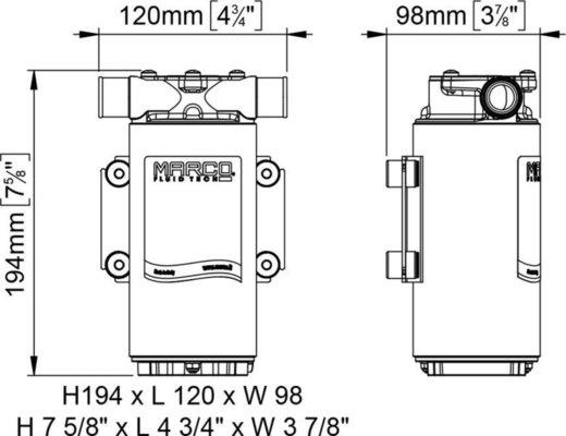 Marco UP1-M Pump, rubber impeller 45 l/min - 24V