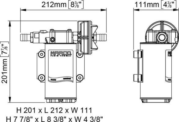 Marco UP6-PV pompa ad ingranaggi in PTFE 26 l/min con valvola n/rit.24V