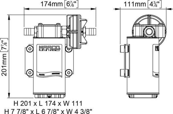 Marco UP6-P PTFE Gear pump 26 l/min - 24V