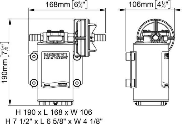 Marco UP9-P pompa per servizi gravosi 12 l/min - Ingranaggi PTFE - O-Ring VITON 24V