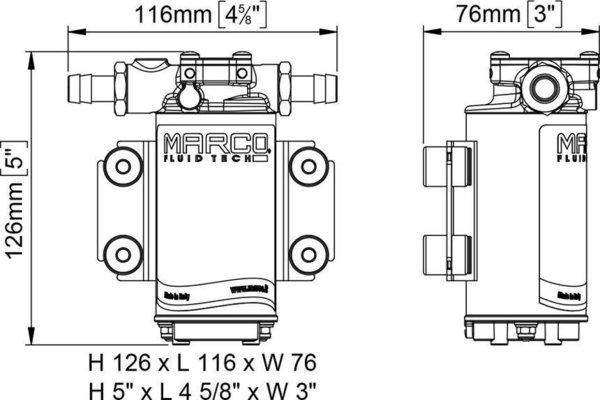 Marco UP2-P pompa ad ingranaggi in PTFE 10 l/min 12V