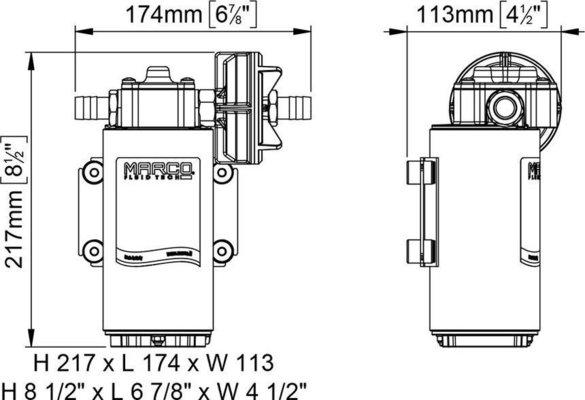 Marco UP12-PV pompa ad ingranaggi in PTFE 36 l/min con valvola di n/rit. 24V