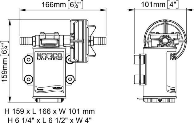 Marco UP3 Bronze gear pump 15 l/min 12V