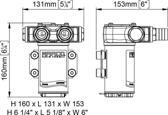 Marco VP45-N Pompa a palette 45 l/min 24V