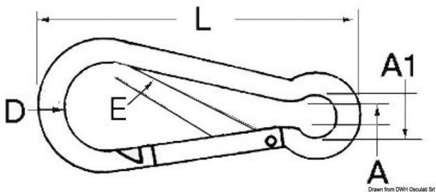 Osculati Nerezová karabína s očkom 6mm