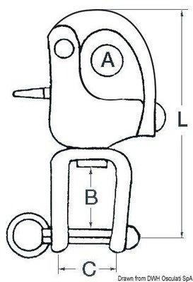 Osculati Spinakrový otočný šekel s obratlíkom 12mm