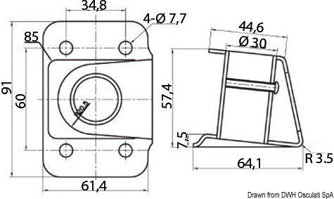 Osculati Stanchion socket polished SS 4° 25 mm