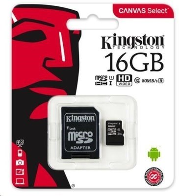 Kingston 16GB Canvas Select UHS-I microSDHC Memory Card w SD Adapter