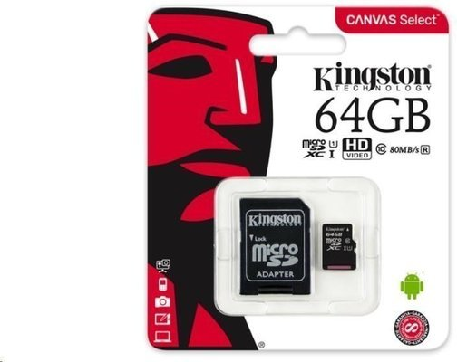 Kingston 64GB Canvas Select UHS-I microSDXC Memory Card w SD Adapter