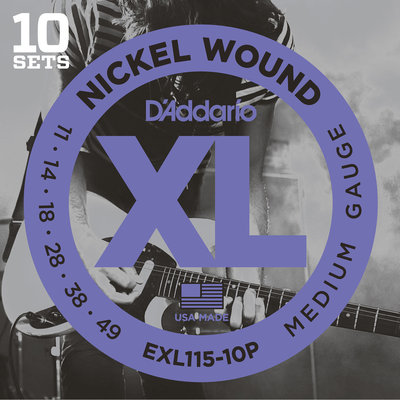 D'Addario EXL115 Nickel Wound Medium 10pcs