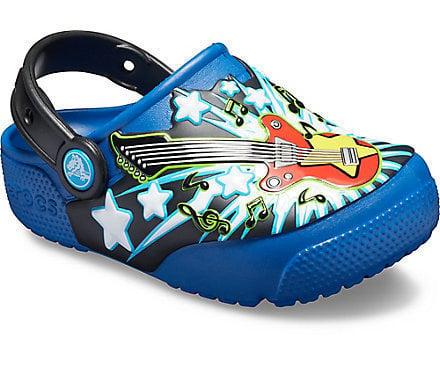 Crocs Kids' Fun Lab Guitar Lights Clog Blue Jean 28-29
