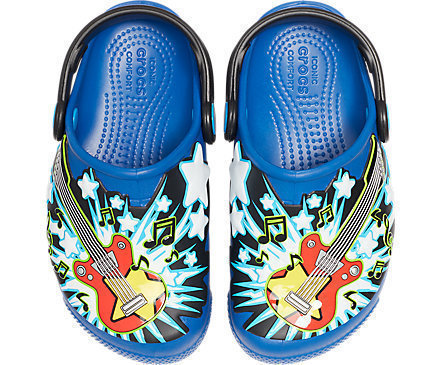Crocs Fun Lab Guitar Lights Clog Unisex Kids Blue Jean 21-22