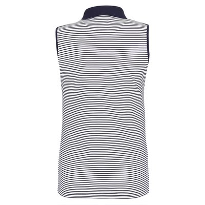 Golfino Nautical Stripes Sleeveless Womens Polo Shirt Navy 36