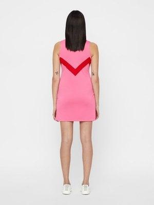J.Lindeberg Chelene TX Jaquard Womens Polo Dress Pop Pink S