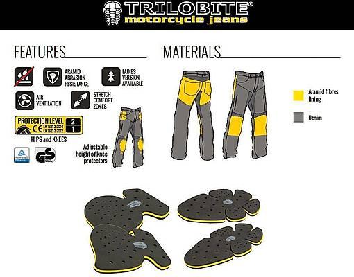 Trilobite 661 Parado TÜV CE 36 Men Jeans Light Grey Level 2
