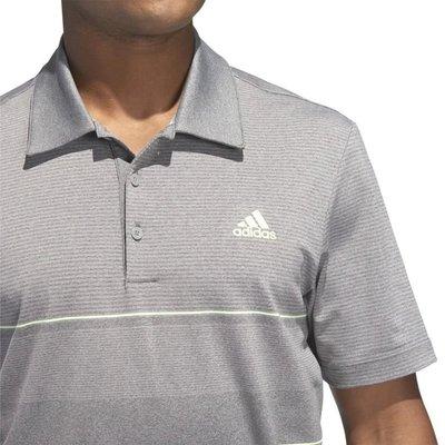 Adidas Ultimate365 Heathered Stripe Mens Polo Grey/Yellow M
