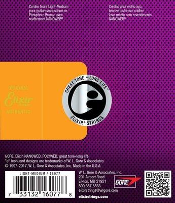 Elixir 16077 Acoustic NanoWeb Phosphor Bronze Light-Medium