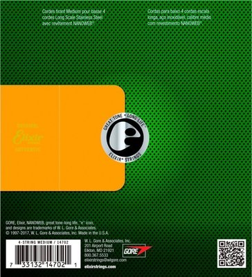 Elixir 14702 Bass Stainless Steel NanoWeb Medium