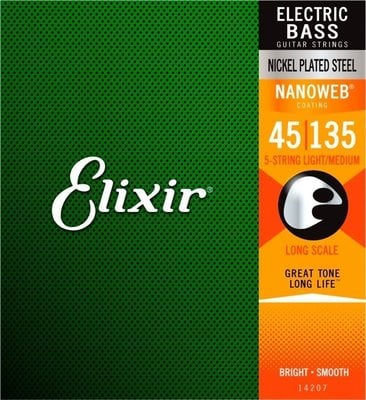 Elixir 14207 Bass Nickel Plated Steel NanoWeb Light/Medium 45-135