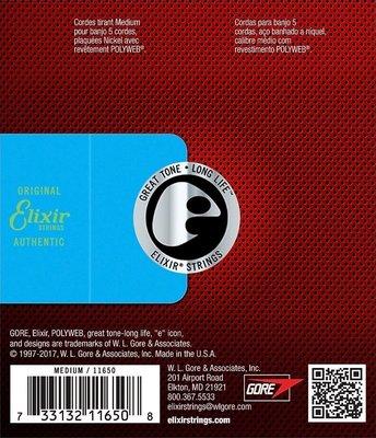Elixir 11650 PolyWeb Banjo Strings Medium 010-073