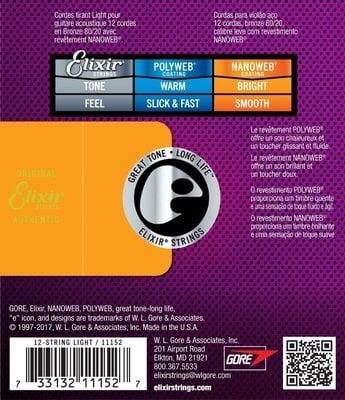 Elixir 11152 Acoustic NanoWeb 80/20 Bronze 12-string Extra Light