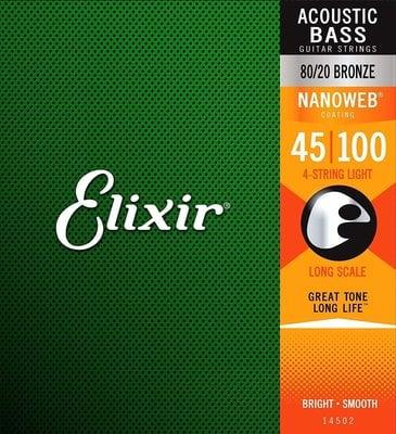 Elixir 14502 Anti-Rust NanoWeb Coated Acoustic Bass Strings 45-100