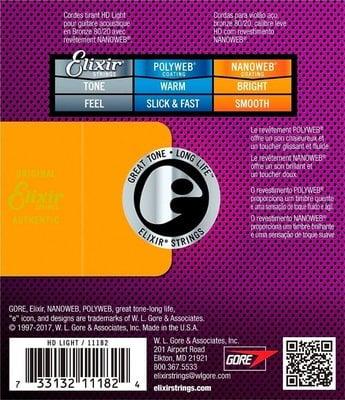 Elixir 11182 HD LIGHT 80-20 Bronze NanoWeb Coated 13-53