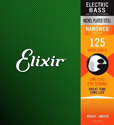 Elixir 15425 Electric Bass String Super Light B .125
