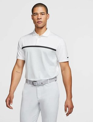 Nike Tiger Woods Vapor Striped Herren Poloshirt White/Pure Platinum S