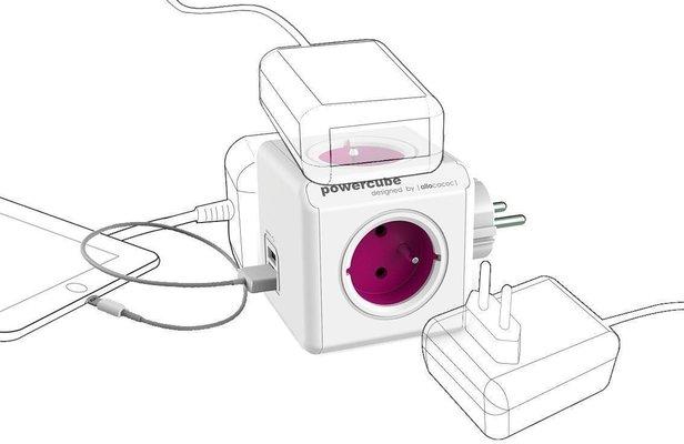 PowerCube ReWirable USB + Travel Plugs + IEC Purple