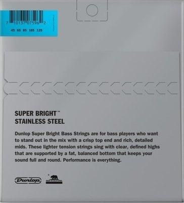 Dunlop DBSBS45125 Stainless Steel Bass Guitar Strings, Medium