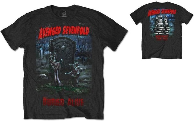 Avenged Sevenfold Unisex Tee Buried Alive Tour 2012 (Back Print) L