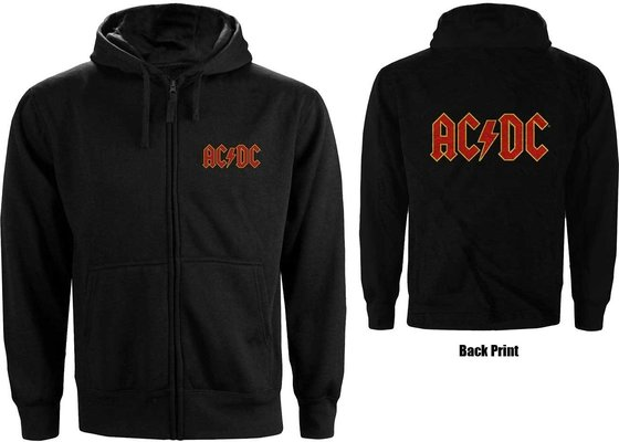 AC/DC Unisex Zipped Hoodie Logo (Back Print) S