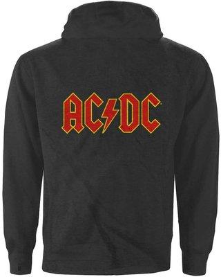 AC/DC Unisex Zipped Hoodie Logo Charcoal (Back Print) L