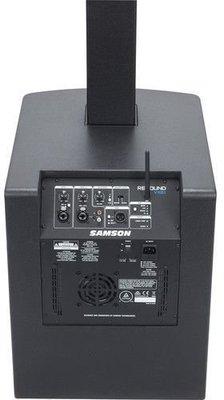 """Samson <ul> <li>Zesilovač: Tř&iacute;da D</li> <li>V&yacute;stupn&iacute; v&yacute;kon syst&eacute;mu: 700 W (350 W subwoofer, 350 W sloupov&yacute; reproduktor)</li> <li>Frekvenčn&iacute; charakteristika: 60 Hz - 20 kHz (-3dB) / 40 Hz - 20 kHz (-6dB)</li> <li>Max. SPL: 125 dB</li> <li>Subwoofer: 12""""</li> <li>V&yacute;&scaron;kov&eacute; reproduktory: 8 x 3,5""""</li> <li>Horizont&aacute;ln&iacute; pokryt&iacute;: 120&deg; (střed), 200&deg; (rotace)</li> <li>Vstupy: XLR/6,3 mm jack combo pro Mic/Line, XLR/6, 3 mm jack combo pro Line/Instrument, RCA</li> <li>V&yacute;stupy: XLR Thru (Mix/Channel 1)</li> <li>Ovl&aacute;d&aacute;n&iacute; hlasitosti: Kan&aacute;l 1-2, Bluetooth</li> <li>DSP: 4 předvolby (Music, Live, Speech, DJ)</li> <li>EQ: přep&iacute;nač pro sloupov&yacute; reproduktor (střed/otočen&iacute;)</li> <li>Rozměr: 1842 x 379 x 472 mm</li> <li>Hmotnost: 30,4 kg</li> <li>Barva: Black</li> </ul>"""