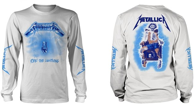 Metallica Ride The Lightning White Long Sleeve Shirt L