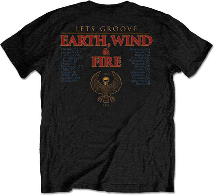 Earth, Wind & Fire Unisex Tee Let's Groove Black (Back Print) L