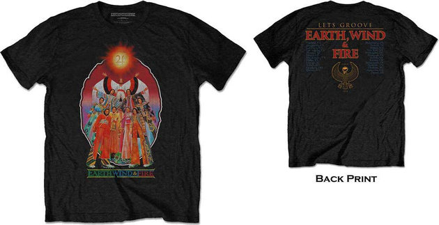 Earth, Wind & Fire Unisex Tee Let's Groove Black (Back Print) XL