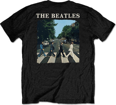 The Beatles Unisex Tee Abbey Road & Logo (Back Print/Retail Pack) M