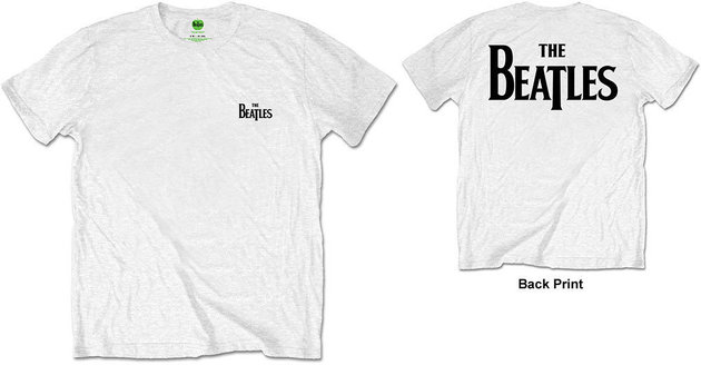 The Beatles Unisex Tee Drop T Logo White (Back Print/Retail Pack) S