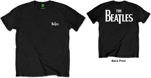 The Beatles Unisex Tee Drop T Logo Black (Back Print/Retail Pack) L