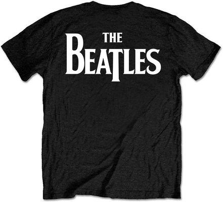 The Beatles Unisex Tee Drop T Logo Black (Back Print/Retail Pack) S