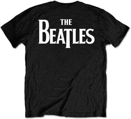 The Beatles Unisex Tee Drop T Logo Black (Back Print/Retail Pack) XL