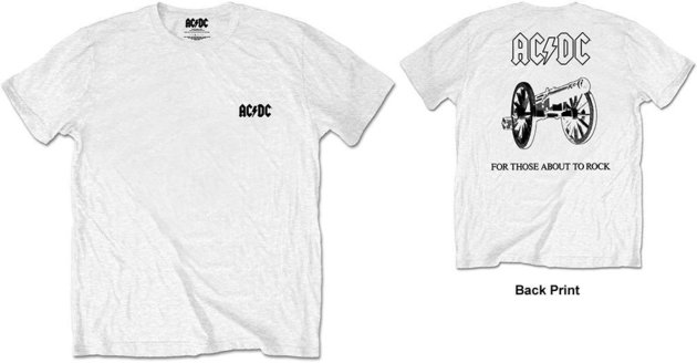 AC/DC Unisex Tee About To Rock White (Back Print/Retail Pack) S